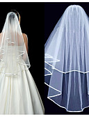 זול הינומות חתונה-שתי שכבות Yhtenäinen väri הינומות חתונה עם אסוף אלסטיין