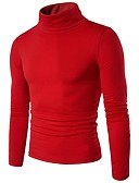 voordelige Heren T-shirts & tanktops-Heren Dagelijks Effen Lange mouw Normaal Pullover, Coltrui Herfst / Winter Paars / Wijn / Lichtgrijs L / XL / XXL