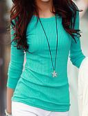 baratos Camisetas Femininas-Mulheres Camiseta Sólido / Listrado Algodão / Outono
