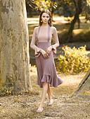 tanie Spodnie-Damskie Wyjściowe Zabytkowe Bawełna Pochwa Sukienka - Wielokolorowa Bateau Wysoka Talia Midi