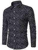 זול טישרטים לגופיות לגברים-משובץ צווארון חולצה סגנון רחוב כותנה, חולצה - בגדי ריקוד גברים / שרוול ארוך