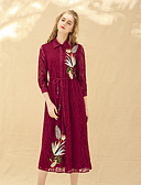 זול שמלות נשים-צווארון חולצה תחרה, אחיד - שמלה סווינג בגדי ריקוד נשים