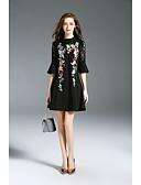 abordables Camisas para Mujer-Mujer Vintage / Sofisticado Pantalones - Color sólido Encaje Negro / Fiesta / Escote Chino / Noche