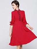 זול שמלות נשים-עומד תחרה חרוזים Ruched, קולור בלוק - שמלה גזרת A נדן סווינג שרוול פנס בגדי ריקוד נשים