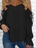 billige T-skjorter til damer-Løstsittende V-hals Bluse Dame - Ensfarget Gatemote / Vår / Snøring / Sexy