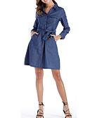 זול שמלות מקרית-צווארון חולצה מותניים גבוהים מעל הברך אחיד - שמלה ג'ינס יום יומי בגדי ריקוד נשים