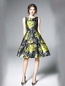 baratos Vestidos Femininos-Mulheres Trabalho Moda de Rua Evasê balanço Vestido - Estampado Decote V Médio
