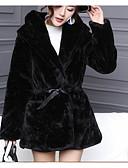 cheap Women's Fur Coats-Women's Faux Fur Fur Coat - Solid Colored