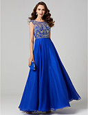 cheap Prom Dresses-A-Line Jewel Neck Floor Length Chiffon / Lace Cocktail Party / Prom / Formal Evening Dress with Appliques / Pleats by TS Couture®