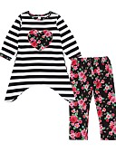 cheap Girls' Clothing Sets-Girls' Daily Going out Striped Floral Clothing Set, Cotton Spring Fall Long Sleeves Casual Active White