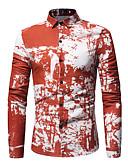 זול חולצות לגברים-דפוס כותנה, חולצה - בגדי ריקוד גברים / שרוול ארוך