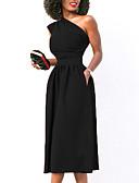 preiswerte Maxi-Kleider-Damen Party Kleid Solide Midi Ein-Schulter Rot