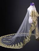 זול הינומות חתונה-שכבה אחת ירח דבש חתונה הינומות חתונה צעיפי קתדרלה עם תחרה טול