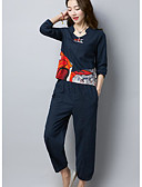 זול שמלות נשים-צווארון V מכנס דפוס סט בגדי ריקוד נשים