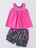 tanie Zestawy ubrań dla dziewczynek-Brzdąc Dla dziewczynek Moda miejska Nadruk Bez rękawów Bawełna Komplet odzieży