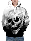 cheap Men's Hoodies & Sweatshirts-Men's Long Sleeves Loose Hoodie - Skull, Print Hooded