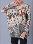 זול סוודרים לנשים-גיאומטרי - סוודר שרוול ארוך שרוול עטלף ליציאה בגדי ריקוד נשים