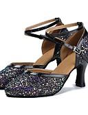 זול גברים-ג'קטים ומעילים-נעליים מודרניות Paillette / דמוי עור סנדלים / עקבים קשתות עקב מותאם מותאם אישית נעלי ריקוד שחור
