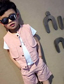 cheap Women's Pants-Men's Daily Holiday Solid Clothing Set, Cotton Summer Short Sleeves Active Blushing Pink