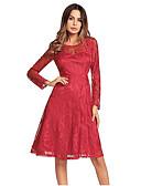 זול שמלות נשים-עד הברך תחרה, צבע אחיד - שמלה גזרת A כותנה בגדי ריקוד נשים