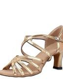 זול טישרט-בגדי ריקוד נשים נעליים לטיניות סאטן אלסטי / דמוי עור סנדלים עקב עבה מותאם אישית נעלי ריקוד זהב / בבית
