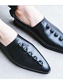 זול טישרטים לגופיות לגברים-בגדי ריקוד נשים נעליים עור קיץ נוחות נעליים ללא שרוכים עקב נמוך בוהן מחודדת שחור / אדום