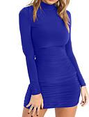 baratos Vestidos de Festa-Mulheres Para Noite Básico / Moda de Rua Skinny Tubinho / Bainha Vestido Côr Sólida Gola Redonda Mini Azul