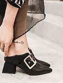 זול טישרטים לגופיות לגברים-בגדי ריקוד נשים נעליים עור אביב / סתיו נוחות עקבים עקב עבה בוהן מחודדת אבזם שחור / אדום