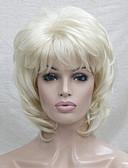 billige Cocktailkjoler-Syntetiske parykker Bølget Blond Lagvis frisyre Syntetisk hår Blond Parykk Dame Lokkløs Bleik Blond