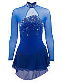 cheap Ice Skating Dresses , Pants & Jackets-Figure Skating Dress Women's Girls' Ice Skating Dress Dark Blue Aquamarine Spandex Rhinestone Sequin High Elasticity Performance Skating