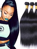 hesapli Gömlek-Düz Brezilya Saçı Düz Kökten Saç İnsan saç örgüleri 3 Paket 8-28 inç İnsan saç örgüleri Siyah İnsan Saç Uzantıları