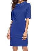 זול שמלות מודפסות-בגדי ריקוד נשים בסיסי רזה מכנסיים - צבע אחיד כחול תלתן / צווארון פיטר פן