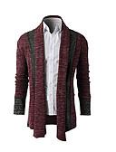 זול סוודרים וקרדיגנים לגברים-דפוס, פסים - קרדיגן שרוול ארוך צווארון חולצה בגדי ריקוד גברים