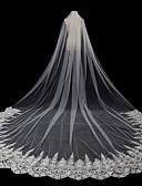 זול הינומות חתונה-שתי שכבות סגנון מודרני / אביזרים / סגנון פרח הינומות חתונה צעיפי סומק / צעיפי קפלה עם דמוי פנינה / עלי כותרת / גדילים (פרנזים) טול / חיתוך זווית / מפל / אפליקצית קצה תחרה