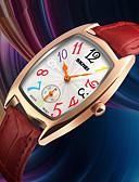 זול קווארץ-SKMEI בגדי ריקוד נשים שעון יד Japanese עמיד במים / שעונים יום יומיים עור אמיתי להקה פאר / יום יומי שחור / אדום