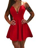 זול שמלות NYE-אדום צווארון V / כתפיה מיני רשת, צבע אחיד - שמלה נדן / סקייטר\מחליקה על הקרח רזה בסיסי Party / ליציאה בגדי ריקוד נשים