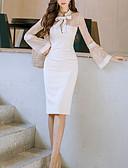 baratos Vestidos Femininos-Mulheres Para Noite Sofisticado Tubinho Vestido - Renda, Côr Sólida Colarinho de Camisa Médio
