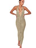 رخيصةأون جمبسوت ورومبرز للنساء-بذلة نسائي بدون ظهر - لون الصلبة أساسي قبة مرتفعة حول الرقبة نادي / الربيع / الصيف / ظهر مفتوح