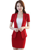 cheap Women's Blazers-Women's Work Cotton Suits - Solid Colored Shirt Collar