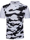 baratos Pólos Masculinas-Homens Polo - Esportes Activo / Temática Asiática camuflagem Algodão Colarinho de Camisa