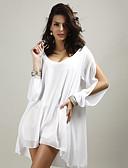 זול חולצה-אחיד צווארון V חוף חולצה - בגדי ריקוד נשים / קיץ