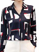 זול חולצה-קולור בלוק צווארון V צווארון חולצה עבודה חולצה - בגדי ריקוד נשים