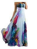 abordables Robes Maxi-Femme Décontracté Maxi Gaine Robe - Dos Nu, Fleur Taille haute Sans Bretelles Eté Blanc L XL XXL Manches Courtes