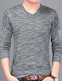 cheap Men's Jackets & Coats-Men's T-shirt - Solid Colored V Neck / Long Sleeve / Long