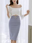 זול שמלות נשים-סירה רחב עד הברך קולור בלוק - שמלה צינור סקיני בגדי ריקוד נשים / קיץ