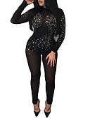 cheap Women's Jumpsuits & Rompers-Women's Club Skinny Bodysuit - Solid Colored, Sequins Mesh Harem