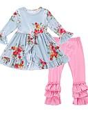 povoljno Kompletići za djevojčice-Djevojčice Pamuk Poliester Cvjetni print Dnevno Praznik Proljeće Jesen Dugih rukava Komplet odjeće Aktivan Svjetloplav