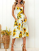 זול שמלות מודפסות-עלה טרופי / לבן כתפיה מידי דפוס, פרחוני - שמלה גזרת A בגדי ריקוד נשים