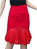 levne Košile-Dámské Větší velikosti Sofistikované A / Bodycon Sukně - Práce Jednobarevné Krajka