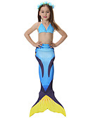 cheap Girls' Dresses-Mermaid Tail Swimwear Men's / Women's Halloween / Children's Day Festival / Holiday Halloween Costumes Blue Solid Colored / Mermaid Mermaid and Trumpet Gown Slip